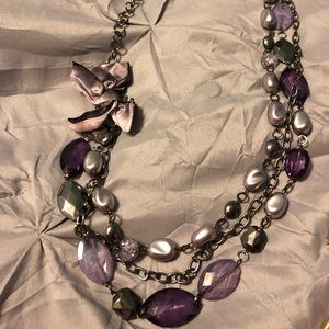 Purple and silver long cocktail necklace with bow